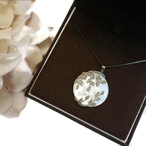 Mother Of Pearl Diamond  Sterling Silver Necklace
